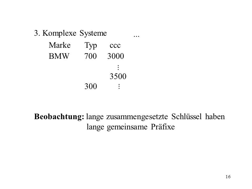 3. Komplexe Systeme Marke Typ ccc. BMW 700 3000. 3500. 300. Beobachtung: lange zusammengesetzte Schlüssel haben.