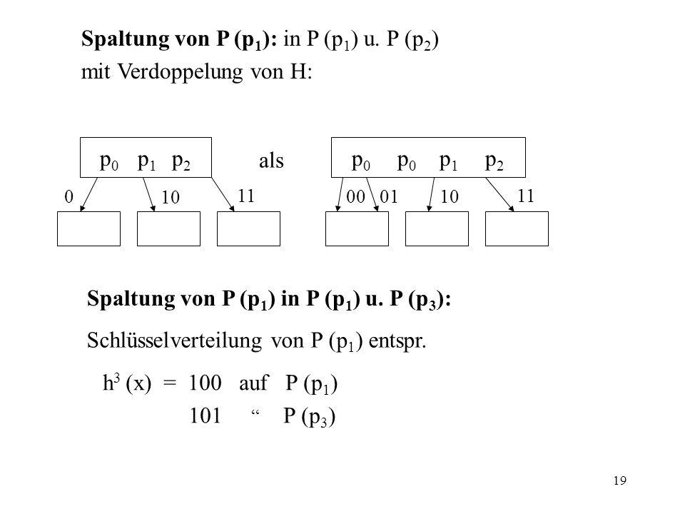 Spaltung von P (p1): in P (p1) u. P (p2) mit Verdoppelung von H: