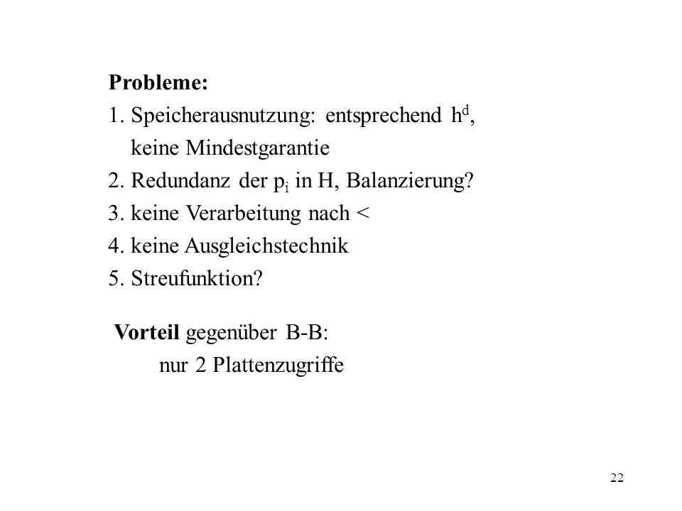 Probleme: 1. Speicherausnutzung: entsprechend hd, keine Mindestgarantie. 2. Redundanz der pi in H, Balanzierung