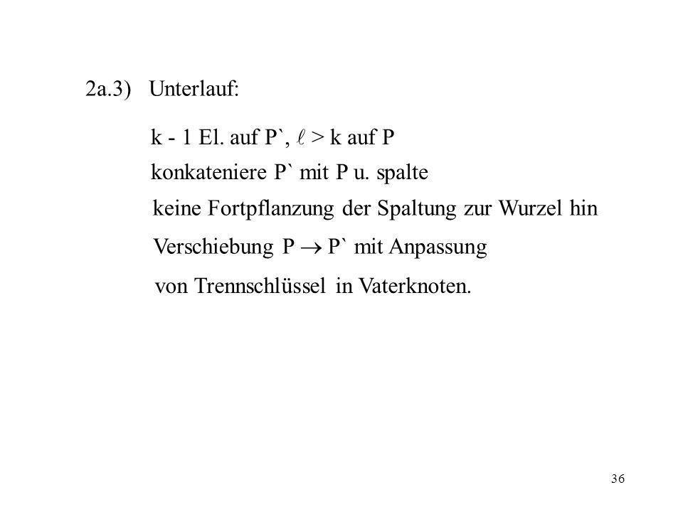 2a.3) Unterlauf: k - 1 El. auf P`,  > k auf P. konkateniere P` mit P u. spalte. keine Fortpflanzung der Spaltung zur Wurzel hin.