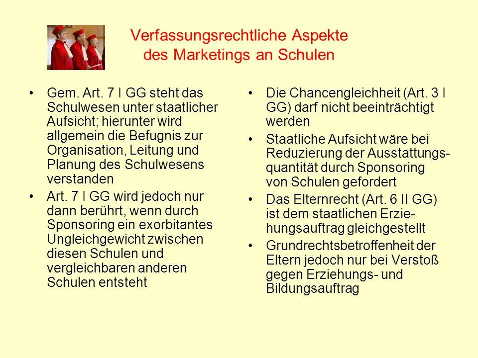 Verfassungsrechtliche Aspekte des Marketings an Schulen