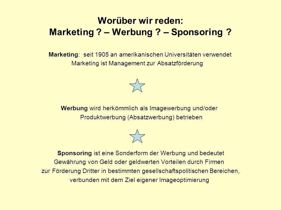 Worüber wir reden: Marketing – Werbung – Sponsoring
