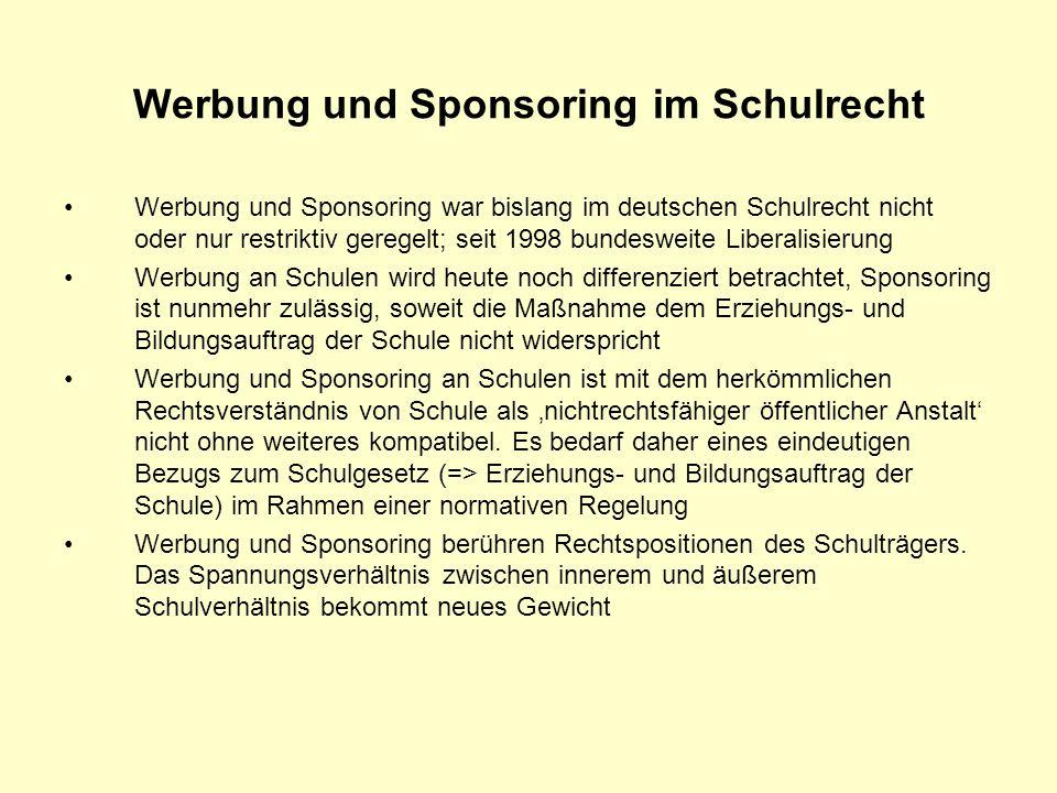 Werbung und Sponsoring im Schulrecht