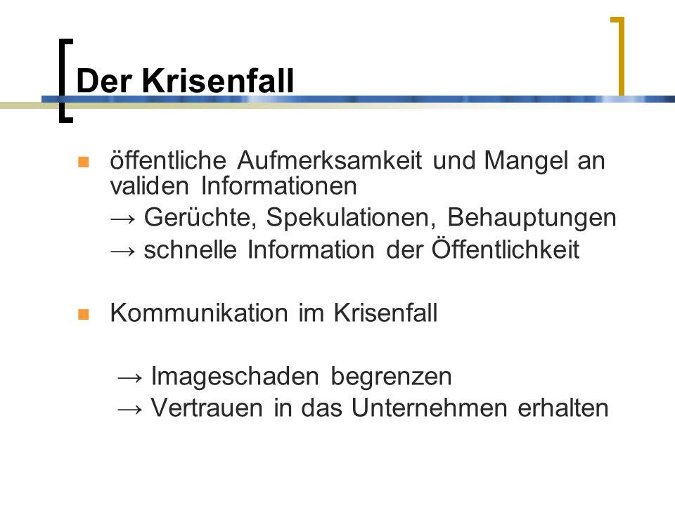Der Krisenfall öffentliche Aufmerksamkeit und Mangel an validen Informationen. → Gerüchte, Spekulationen, Behauptungen.