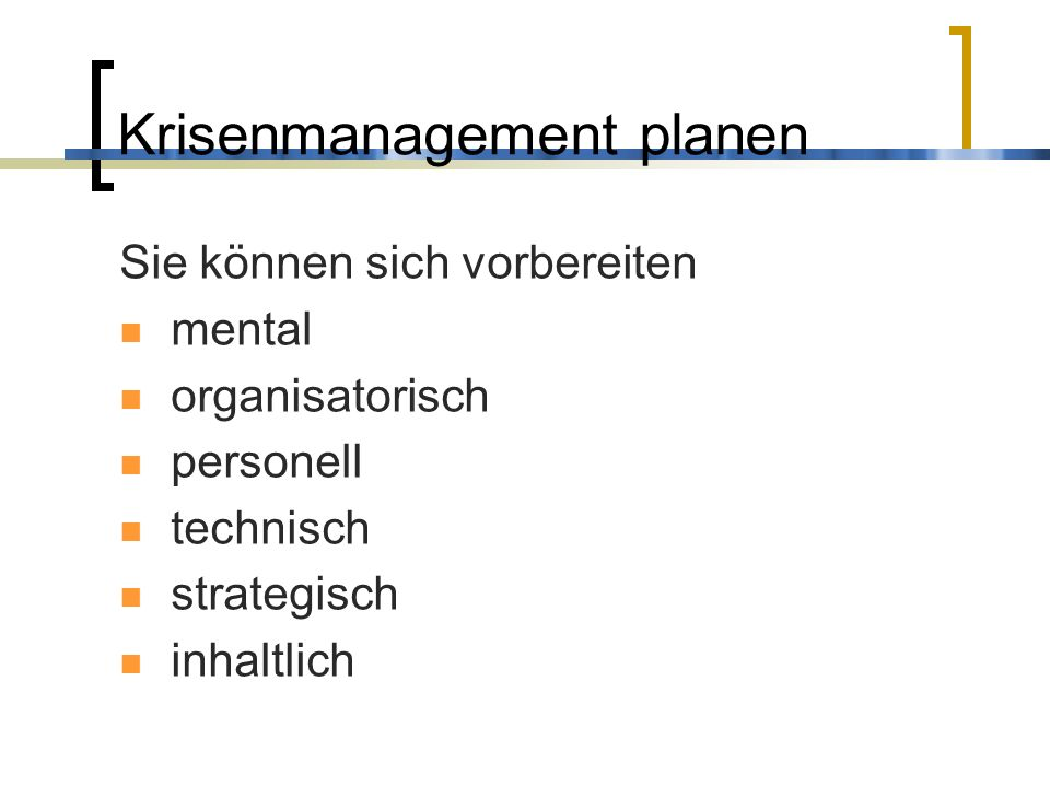 Krisenmanagement planen