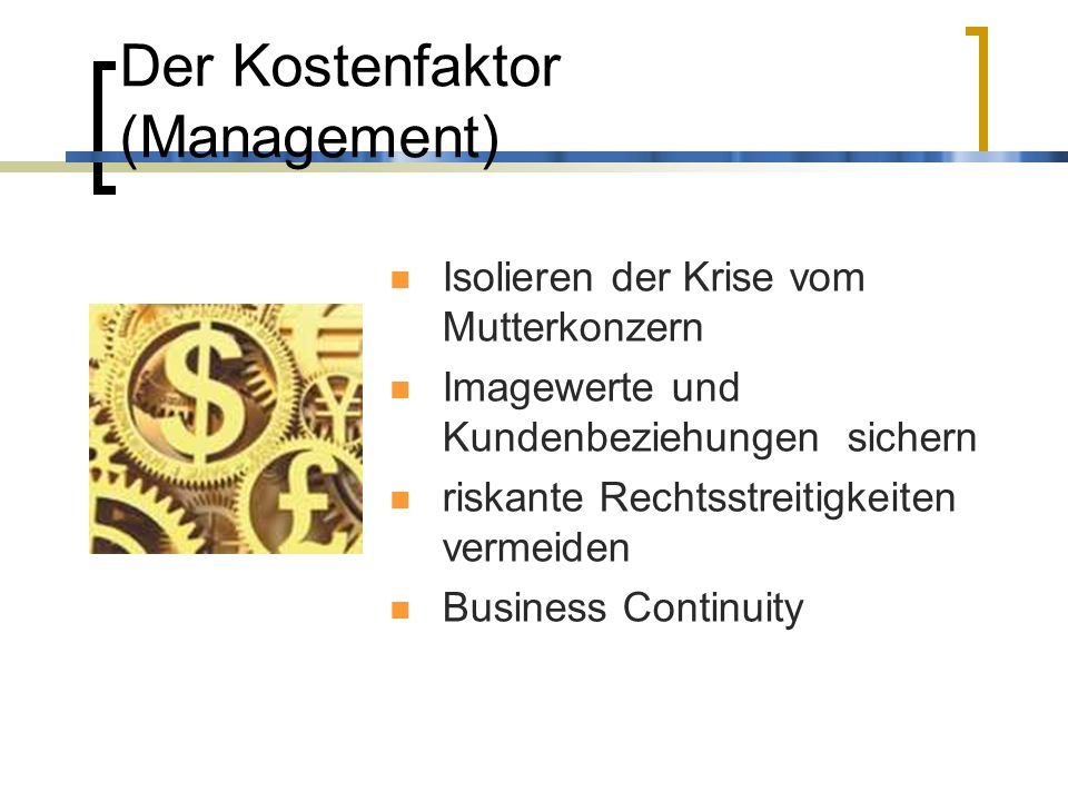 Der Kostenfaktor (Management)