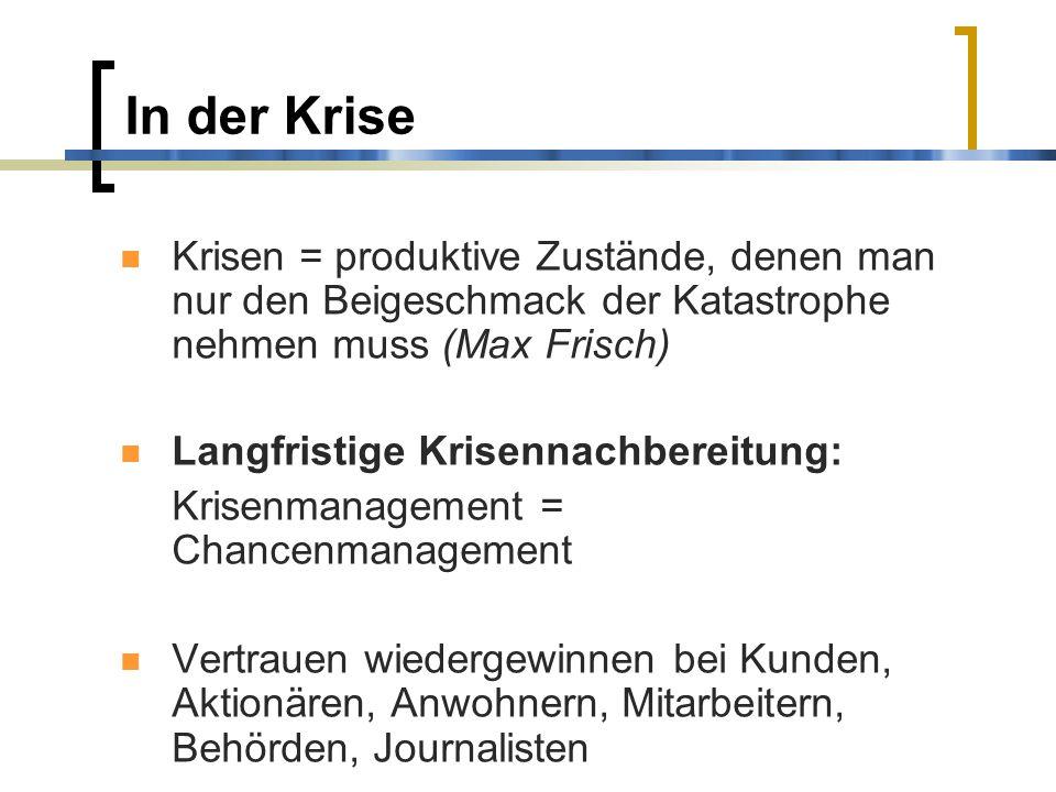 In der Krise Krisen = produktive Zustände, denen man nur den Beigeschmack der Katastrophe nehmen muss (Max Frisch)
