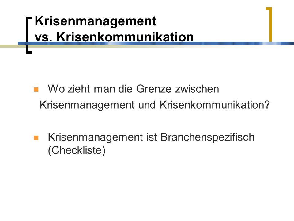 Krisenmanagement vs. Krisenkommunikation