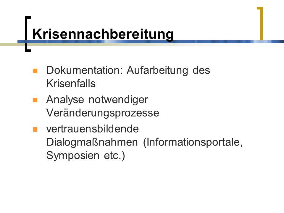 Krisennachbereitung Dokumentation: Aufarbeitung des Krisenfalls