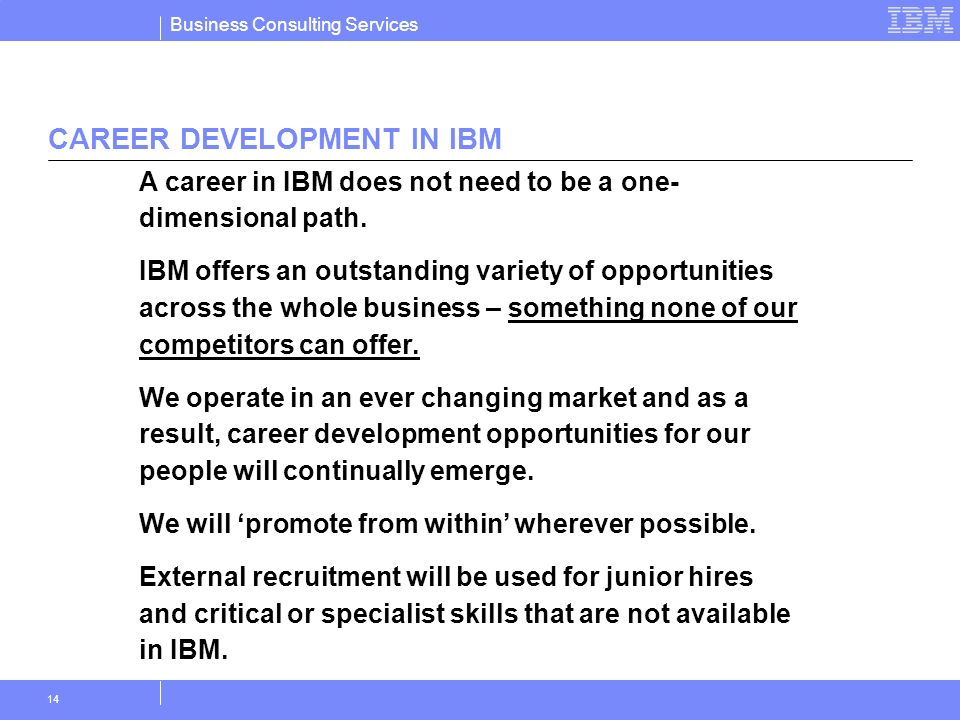 CAREER DEVELOPMENT IN IBM