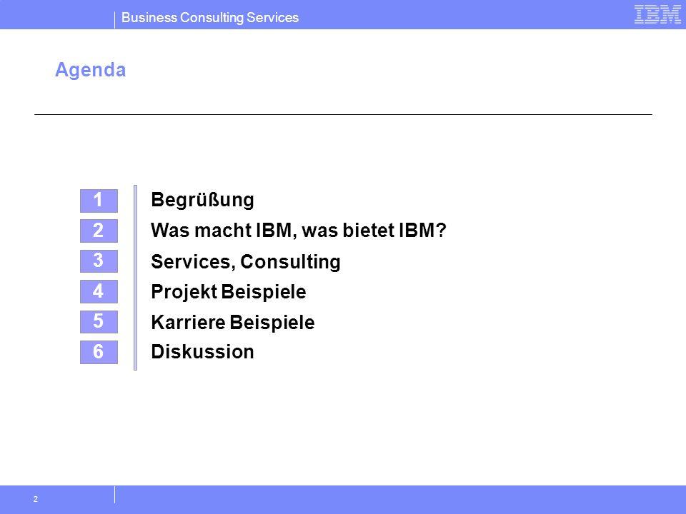 Agenda 1. Begrüßung. 2. Was macht IBM, was bietet IBM 3. Services, Consulting. 4. Projekt Beispiele.