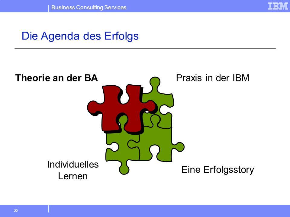 Die Agenda des Erfolgs Theorie an der BA Praxis in der IBM