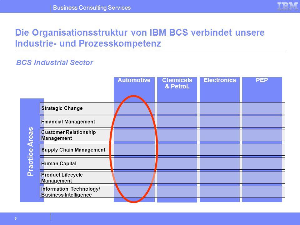 Die Organisationsstruktur von IBM BCS verbindet unsere Industrie- und Prozesskompetenz