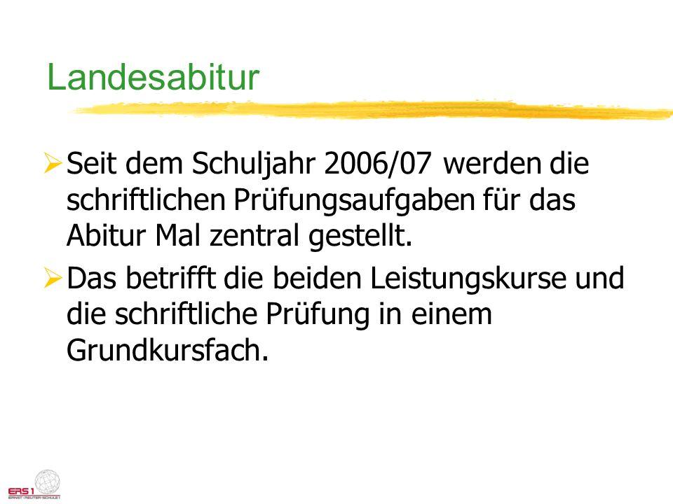 Landesabitur Seit dem Schuljahr 2006/07 werden die schriftlichen Prüfungsaufgaben für das Abitur Mal zentral gestellt.