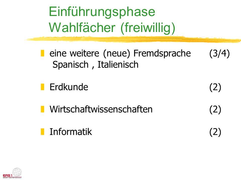 Einführungsphase Wahlfächer (freiwillig)