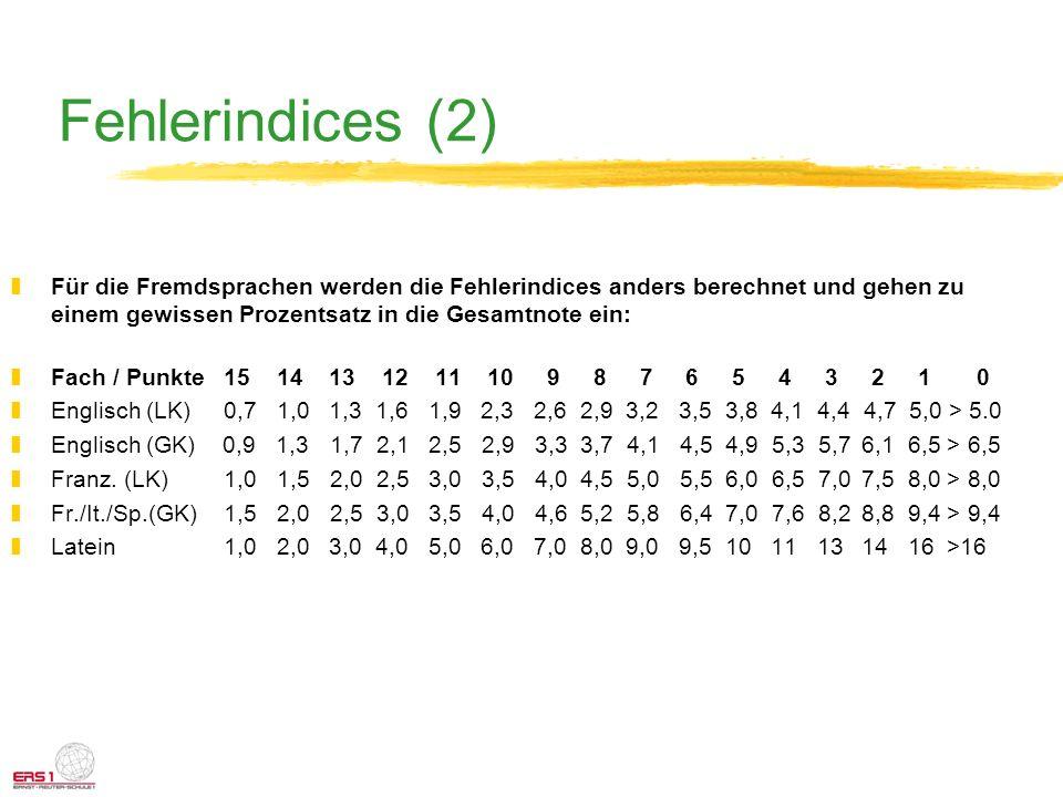 Fehlerindices (2) Für die Fremdsprachen werden die Fehlerindices anders berechnet und gehen zu einem gewissen Prozentsatz in die Gesamtnote ein: