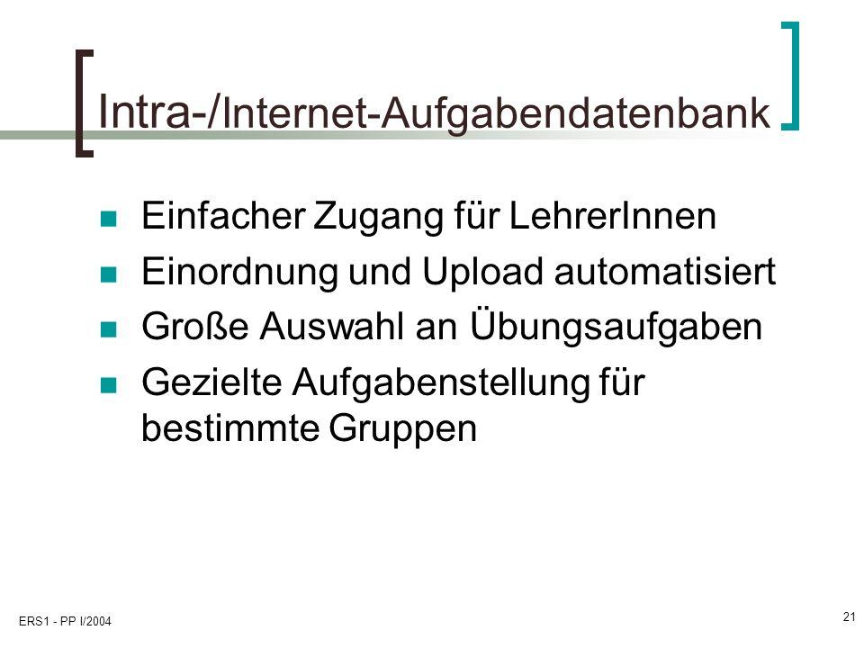 Intra-/Internet-Aufgabendatenbank