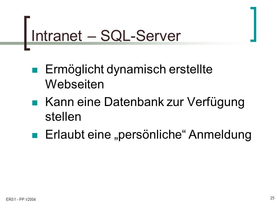Intranet – SQL-Server Ermöglicht dynamisch erstellte Webseiten