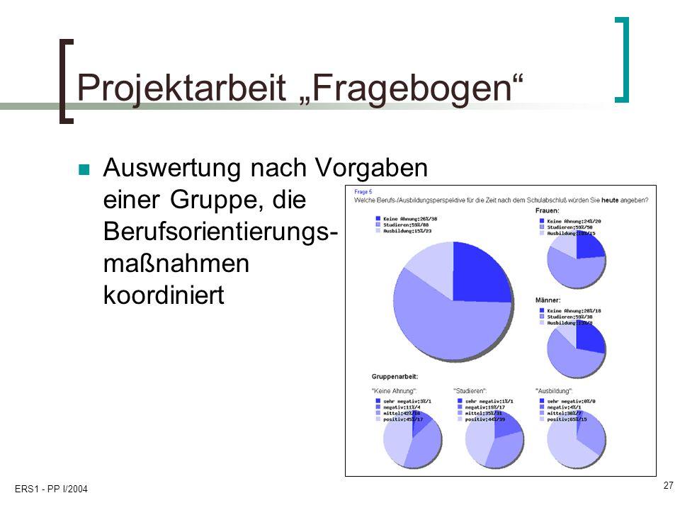 """Projektarbeit """"Fragebogen"""
