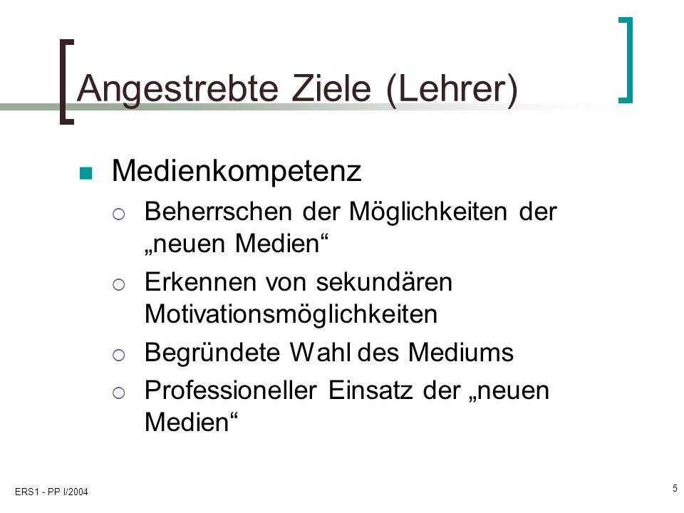 Angestrebte Ziele (Lehrer)