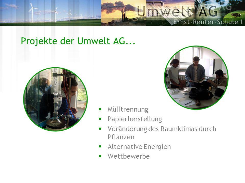 Projekte der Umwelt AG... Mülltrennung Papierherstellung