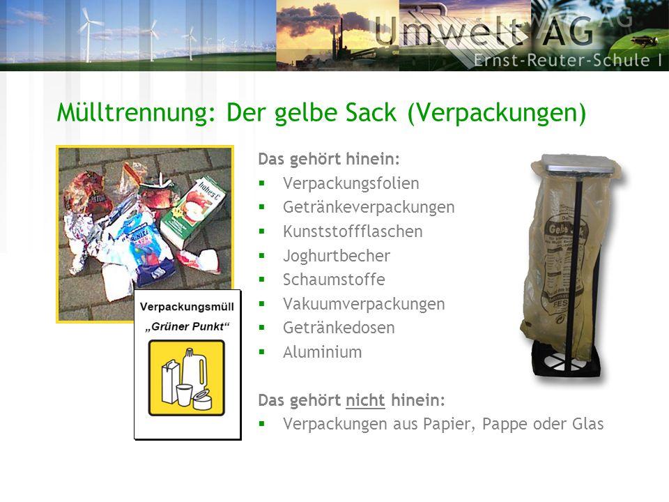 Mülltrennung: Der gelbe Sack (Verpackungen)