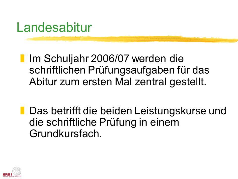 Landesabitur Im Schuljahr 2006/07 werden die schriftlichen Prüfungsaufgaben für das Abitur zum ersten Mal zentral gestellt.