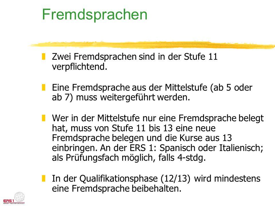 Fremdsprachen Zwei Fremdsprachen sind in der Stufe 11 verpflichtend.