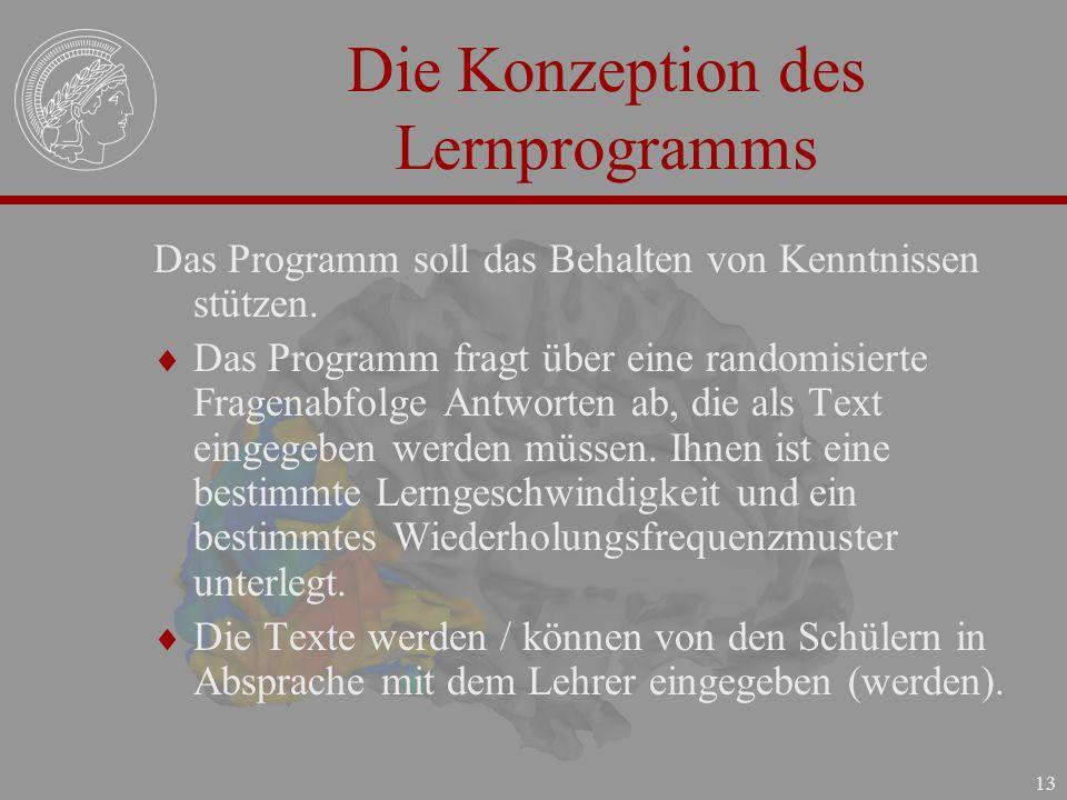 Die Konzeption des Lernprogramms