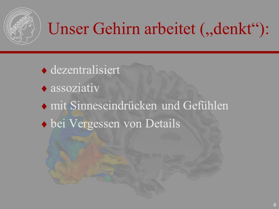 """Unser Gehirn arbeitet (""""denkt ):"""
