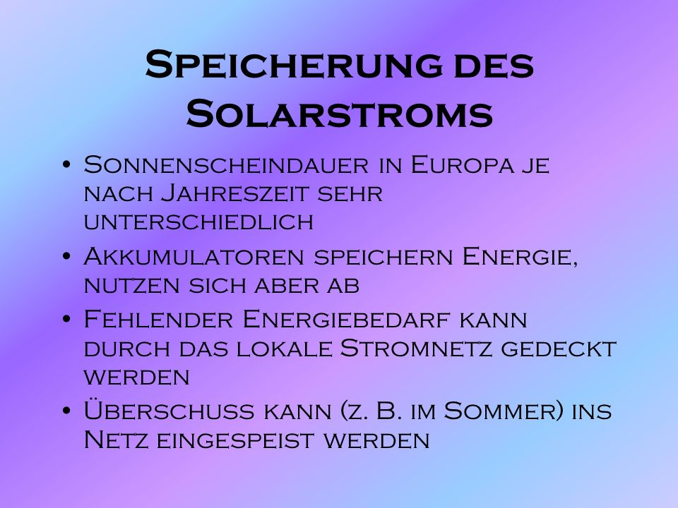 Speicherung des Solarstroms