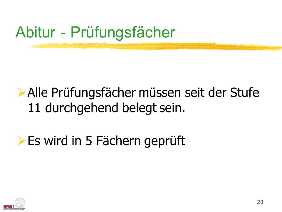 Abitur - Prüfungsfächer