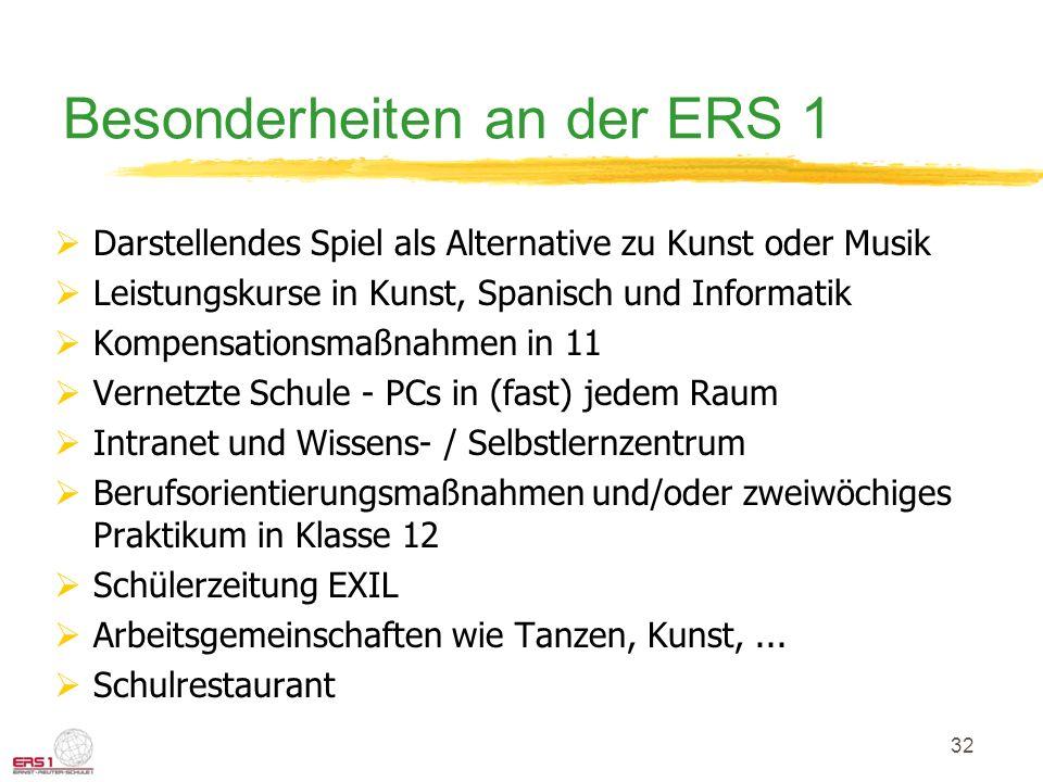 Besonderheiten an der ERS 1
