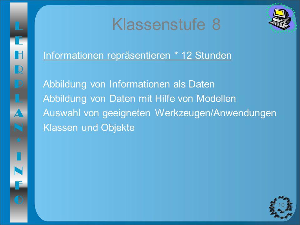 Klassenstufe 8 Informationen repräsentieren * 12 Stunden