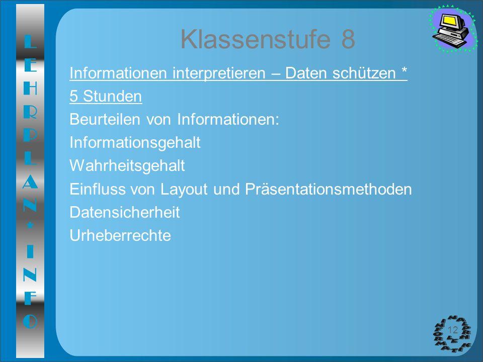 Klassenstufe 8 Informationen interpretieren – Daten schützen *