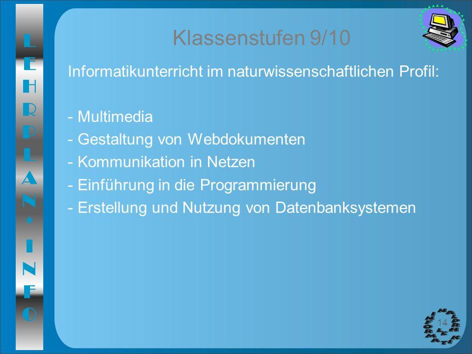 Klassenstufen 9/10 Informatikunterricht im naturwissenschaftlichen Profil: Multimedia. Gestaltung von Webdokumenten.