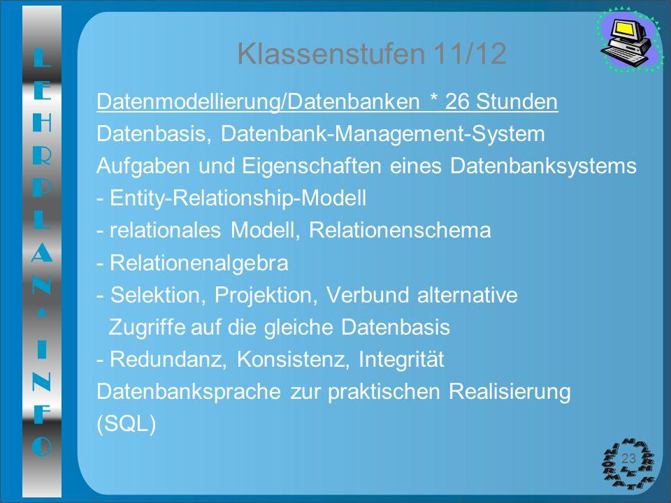 Klassenstufen 11/12 Datenmodellierung/Datenbanken * 26 Stunden
