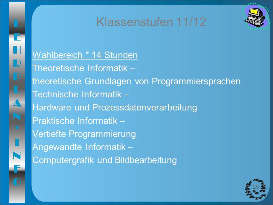Klassenstufen 11/12 Wahlbereich * 14 Stunden Theoretische Informatik –