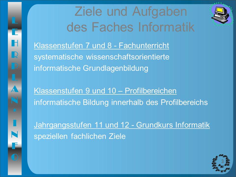 Ziele und Aufgaben des Faches Informatik