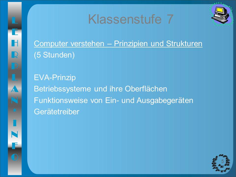 Klassenstufe 7 Computer verstehen – Prinzipien und Strukturen