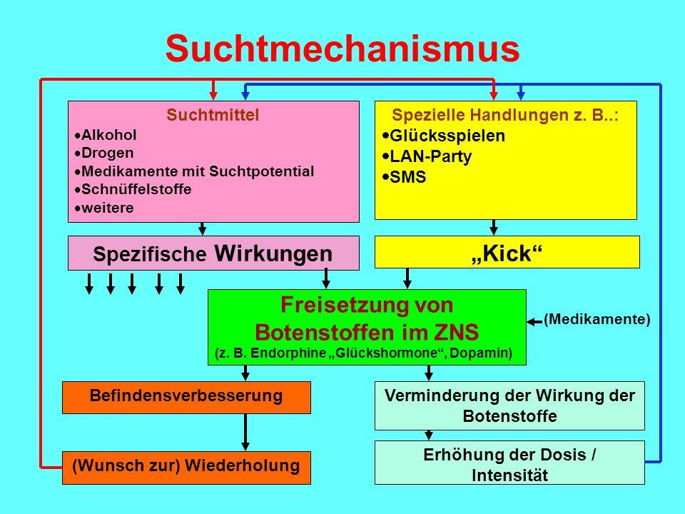 """Suchtmechanismus """"Kick Freisetzung von Botenstoffen im ZNS"""