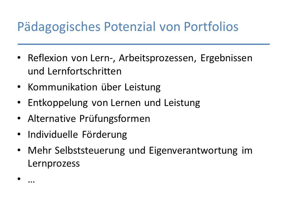 Pädagogisches Potenzial von Portfolios