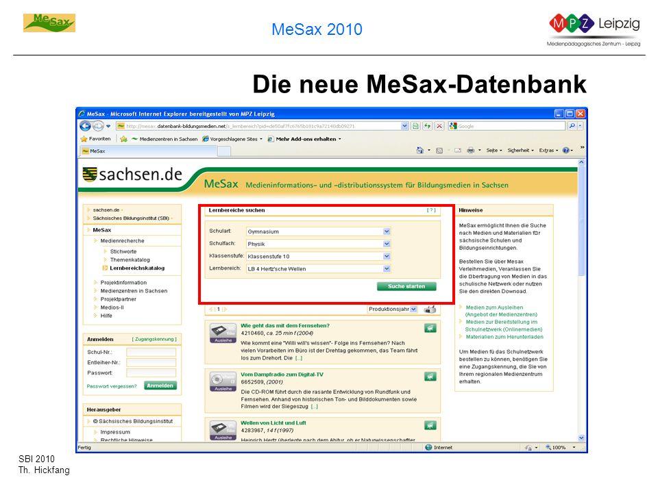 Die neue MeSax-Datenbank