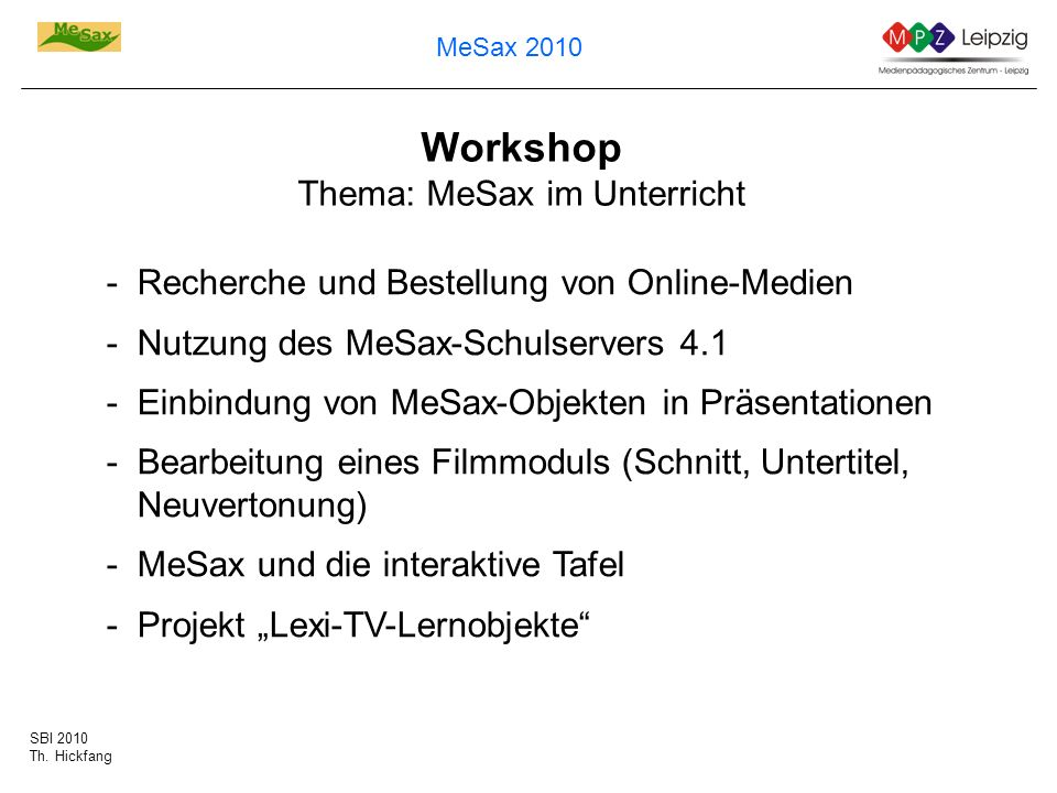 Workshop Thema: MeSax im Unterricht