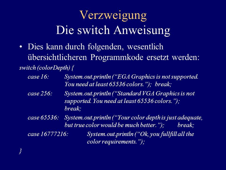 Verzweigung Die switch Anweisung