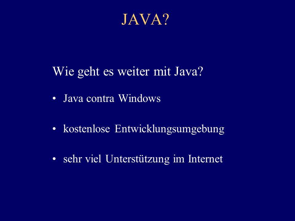 JAVA Wie geht es weiter mit Java Java contra Windows
