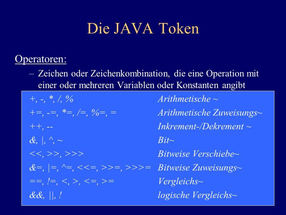 Die JAVA Token Operatoren: