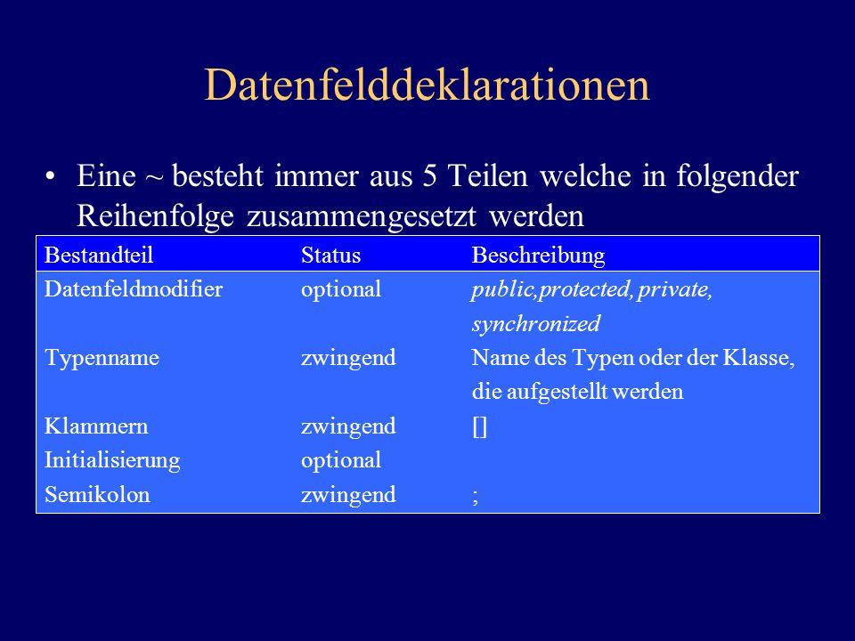 Datenfelddeklarationen