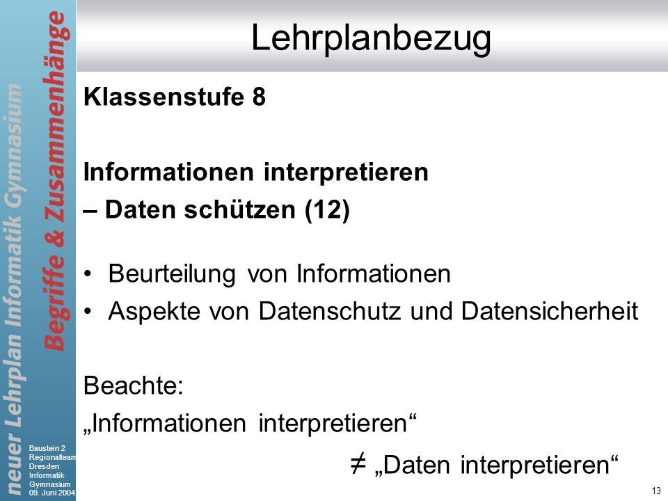 """Lehrplanbezug ≠ """"Daten interpretieren Klassenstufe 8"""