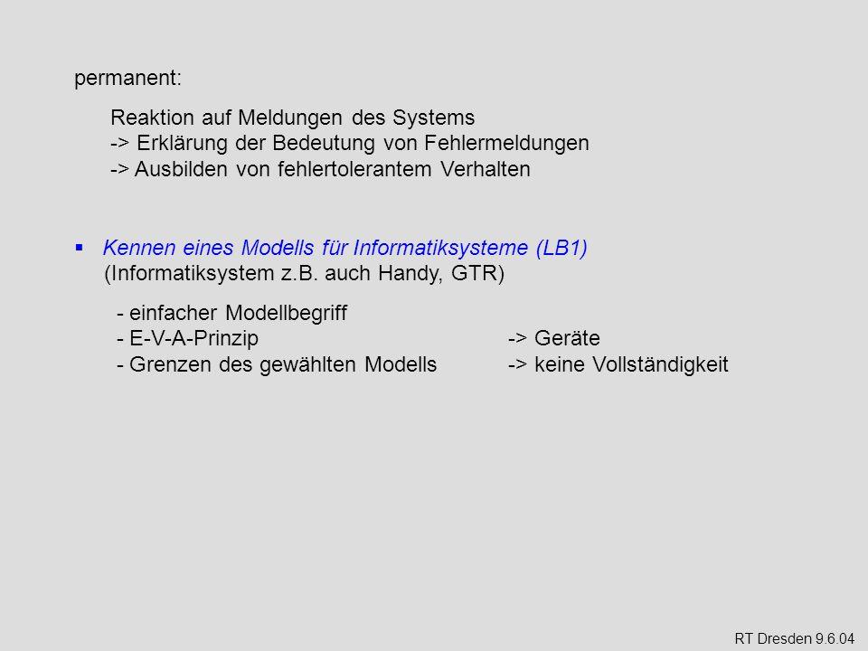 permanent: Reaktion auf Meldungen des Systems -> Erklärung der Bedeutung von Fehlermeldungen -> Ausbilden von fehlertolerantem Verhalten.